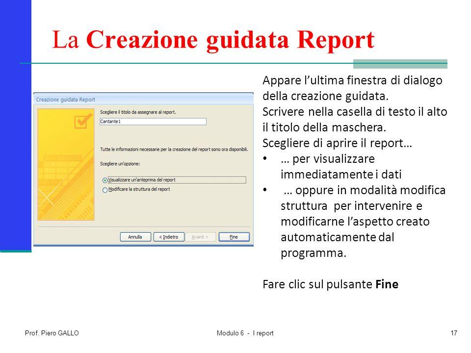 La Creazione guidata Report