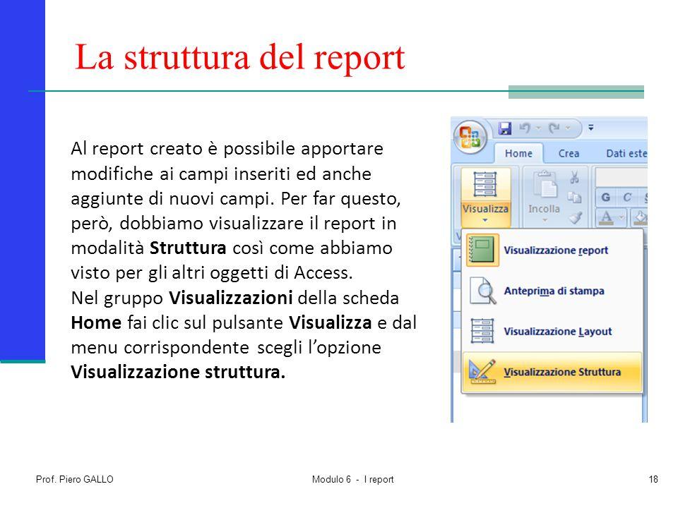 La struttura del report