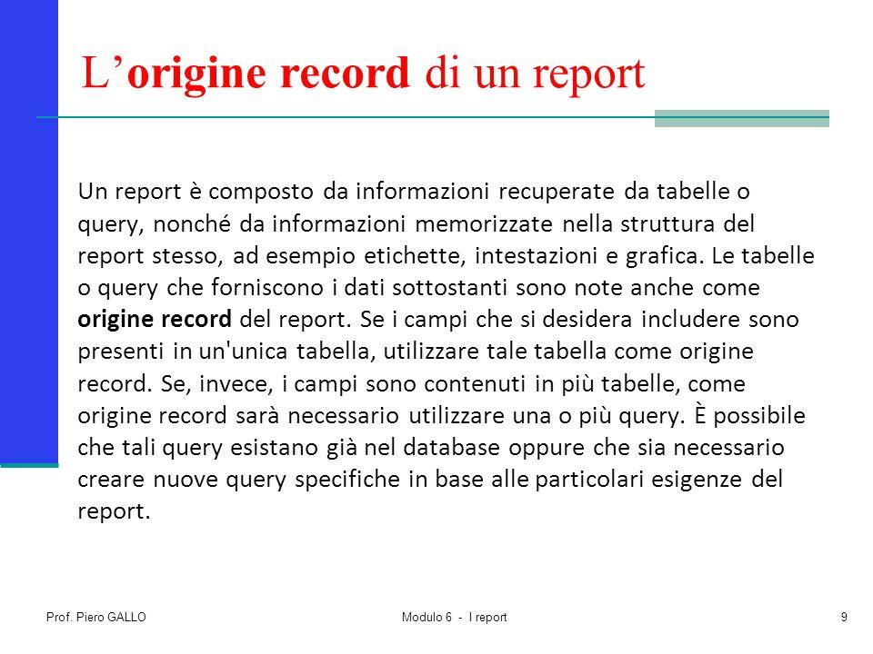 L'origine record di un report