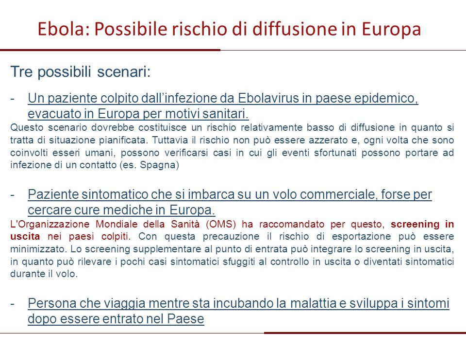 Ebola: Possibile rischio di diffusione in Europa