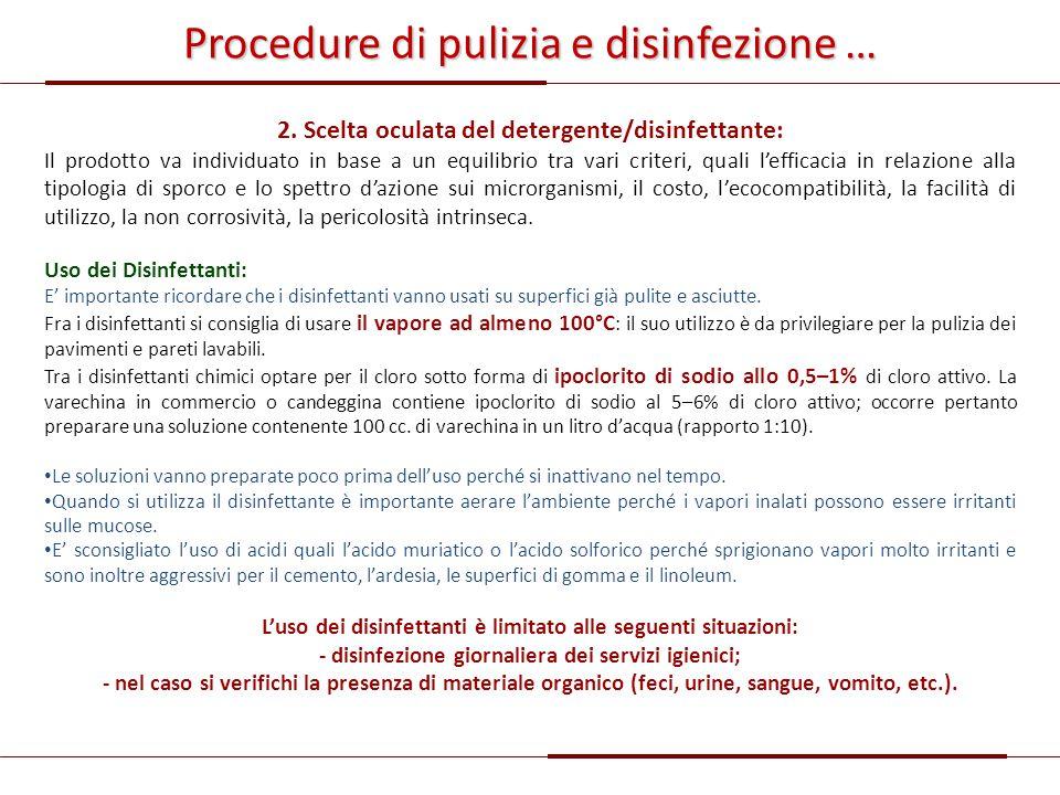 Procedure di pulizia e disinfezione …