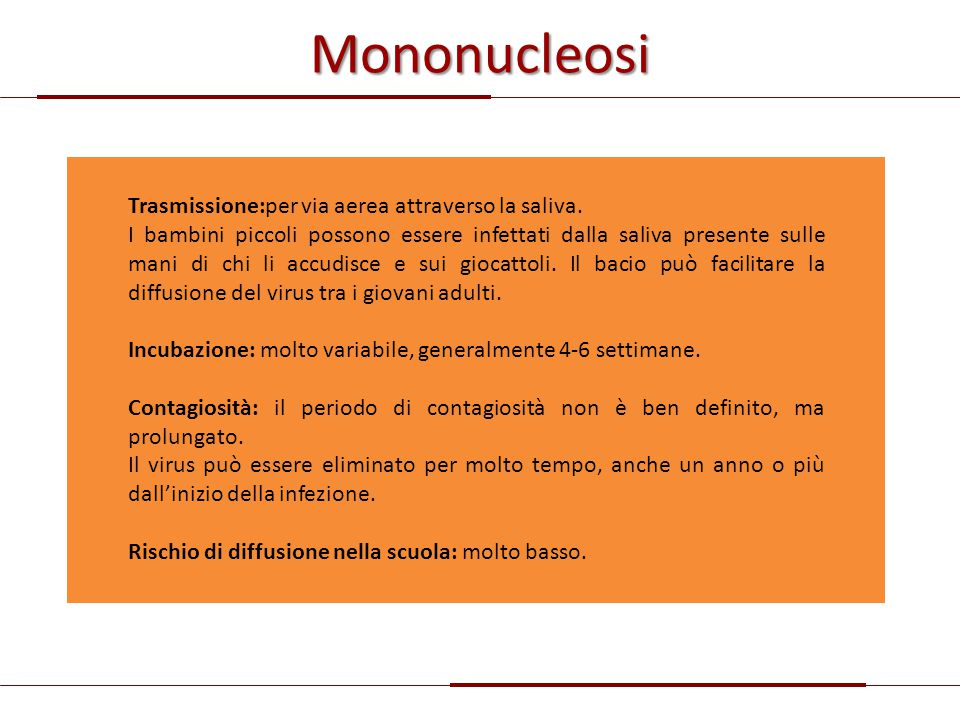 Mononucleosi Trasmissione:per via aerea attraverso la saliva.