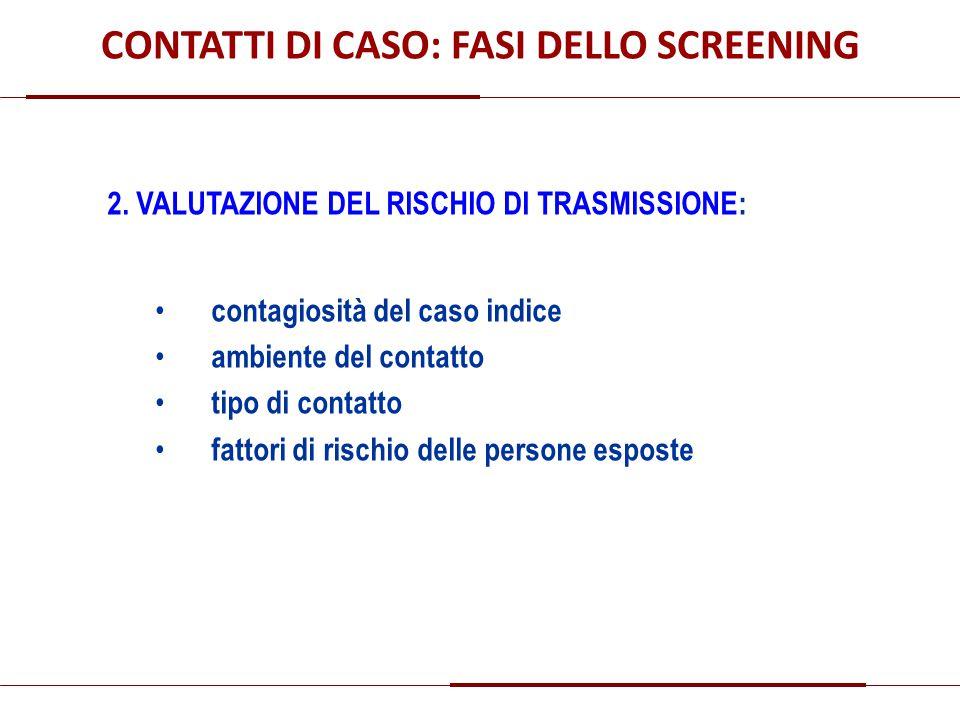 CONTATTI DI CASO: FASI DELLO SCREENING