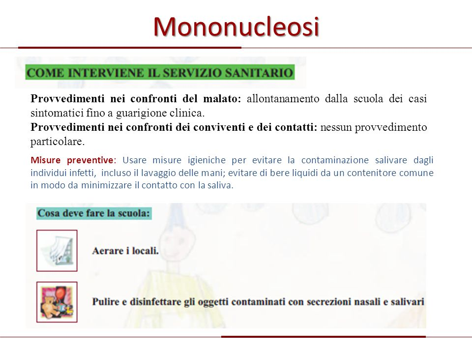 Mononucleosi Provvedimenti nei confronti del malato: allontanamento dalla scuola dei casi sintomatici fino a guarigione clinica.