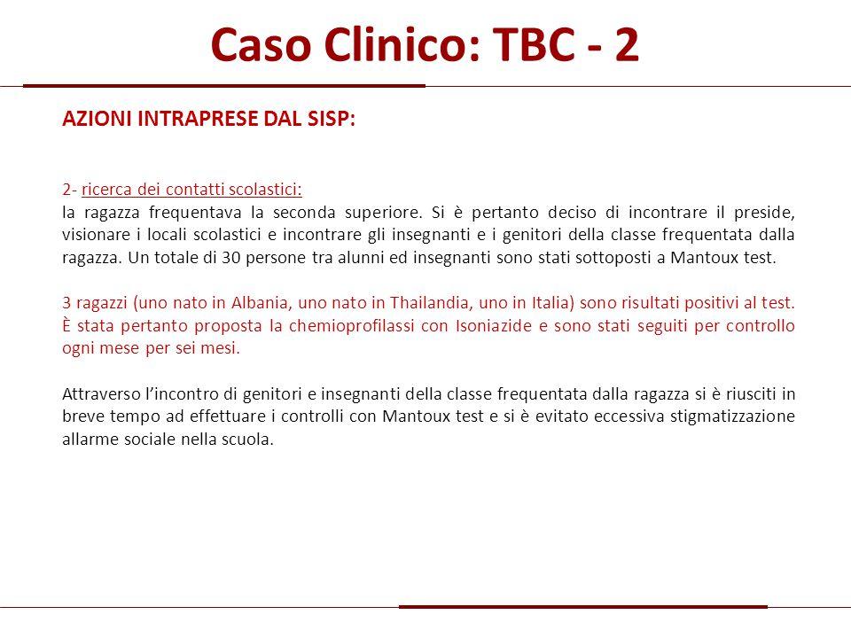 Caso Clinico: TBC - 2 AZIONI INTRAPRESE DAL SISP: