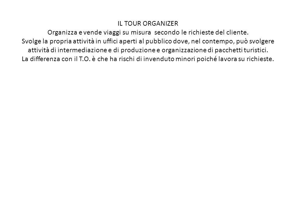 Organizza e vende viaggi su misura secondo le richieste del cliente.