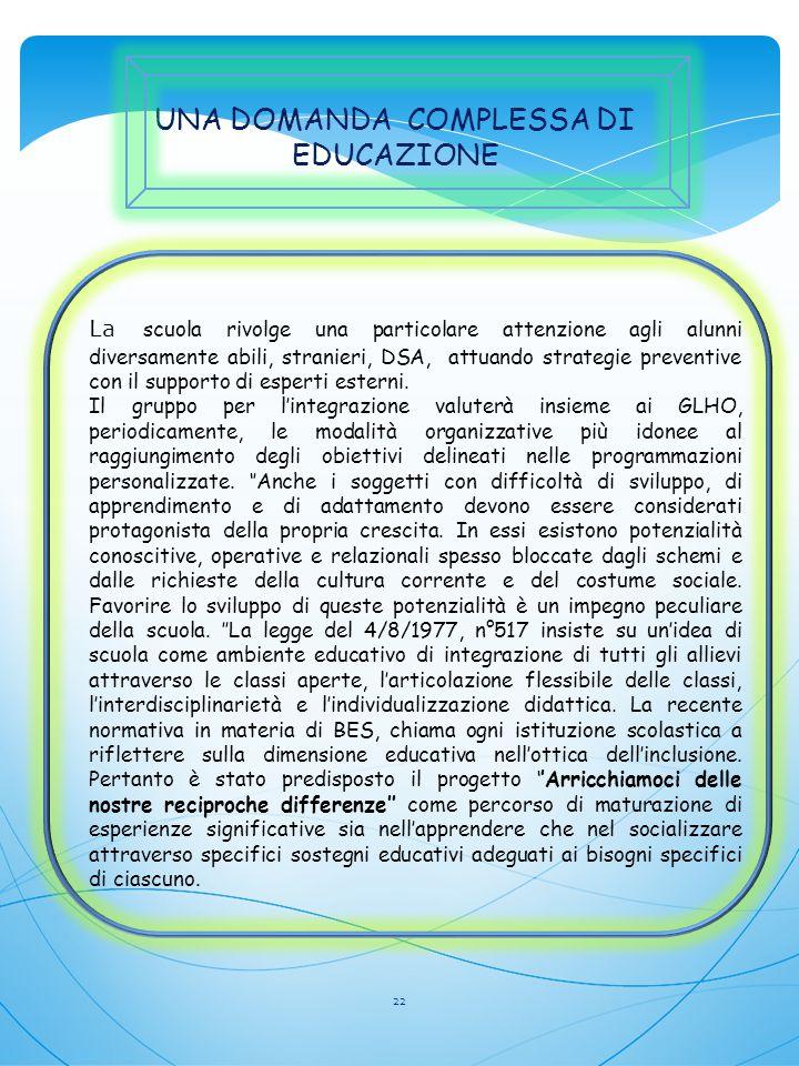 UNA DOMANDA COMPLESSA DI EDUCAZIONE