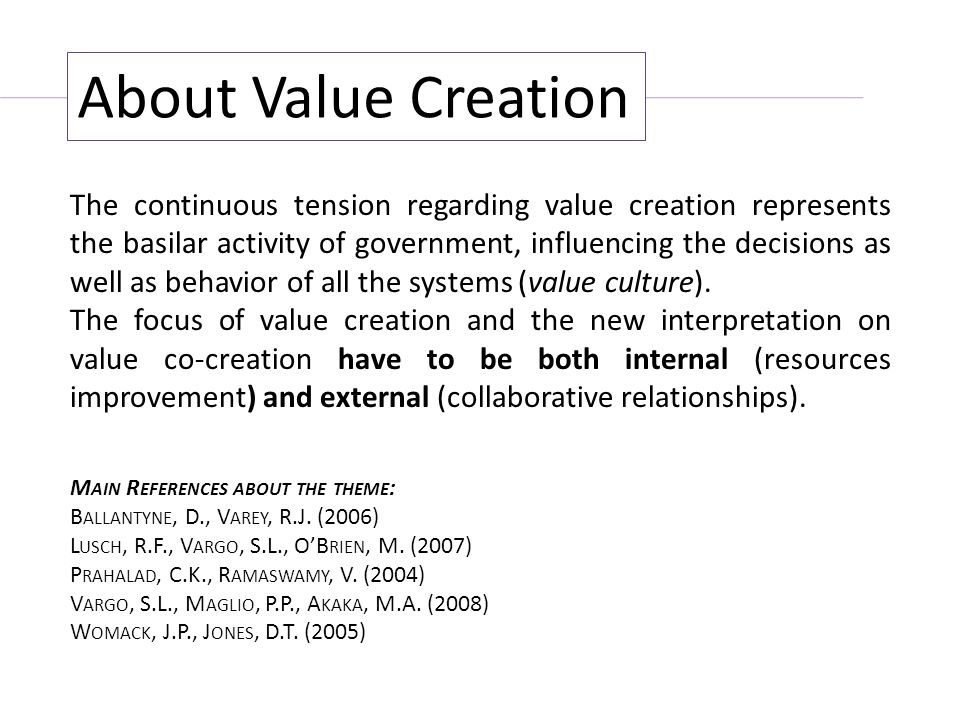 About Value Creation