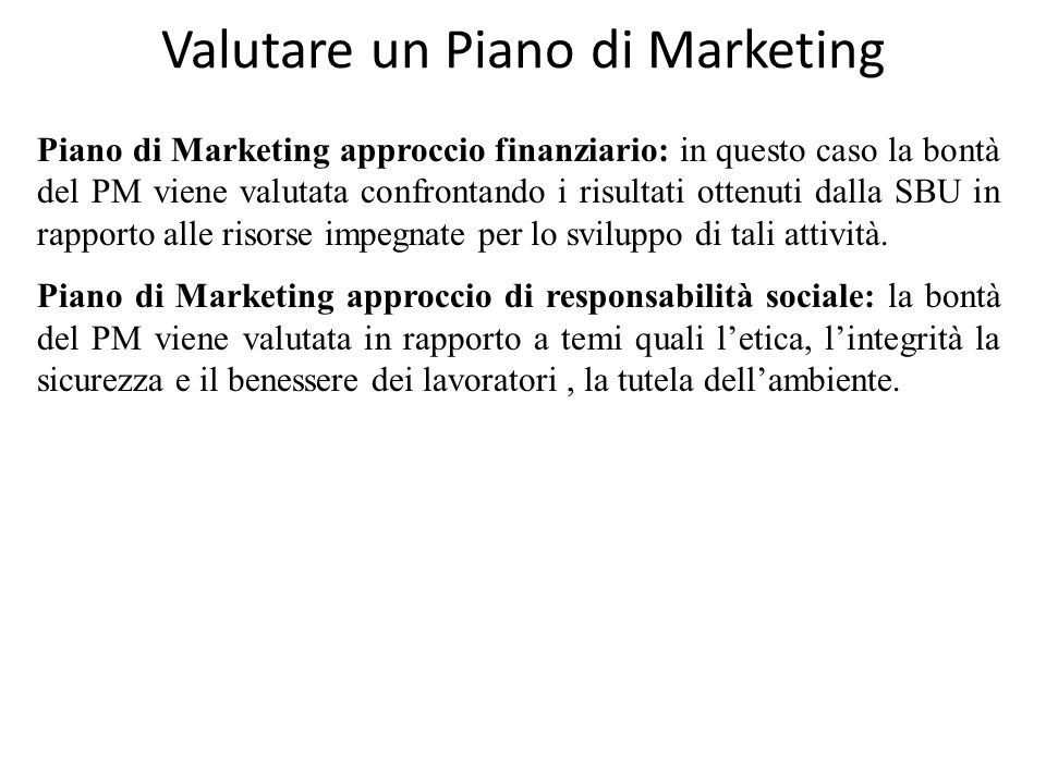 Valutare un Piano di Marketing