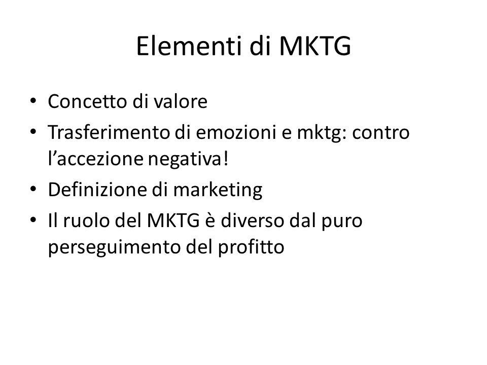 Elementi di MKTG Concetto di valore