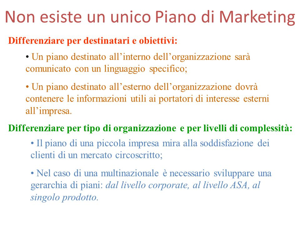 Non esiste un unico Piano di Marketing