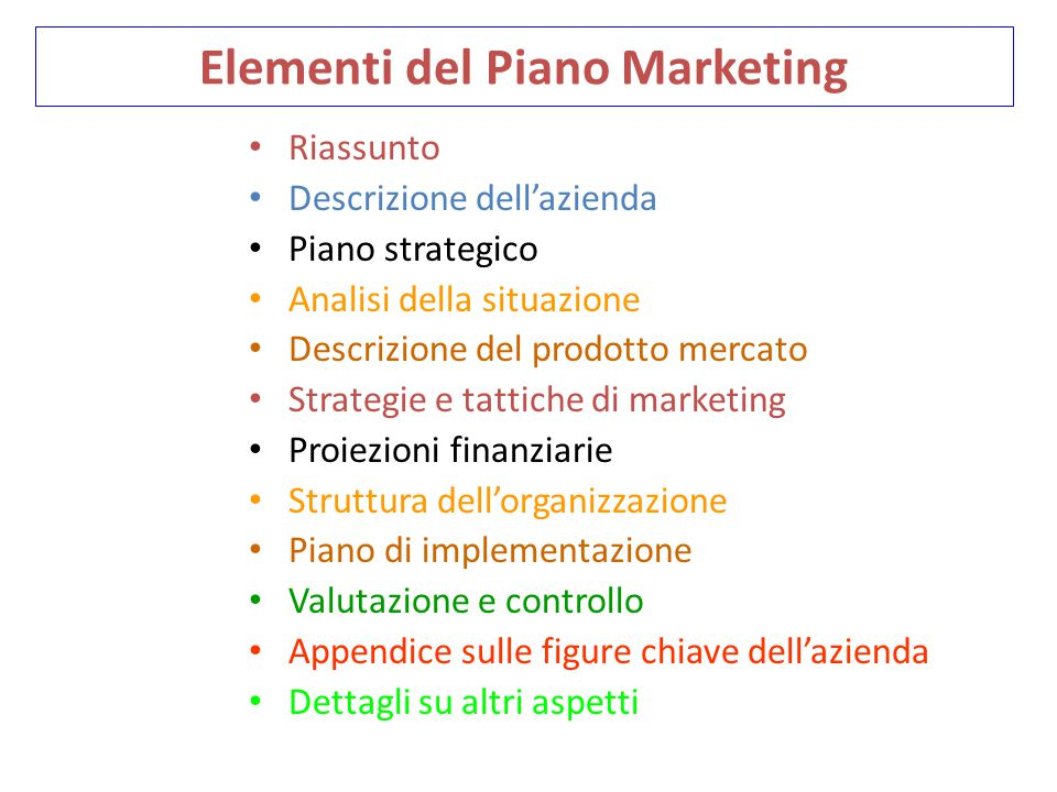 Elementi del Piano Marketing