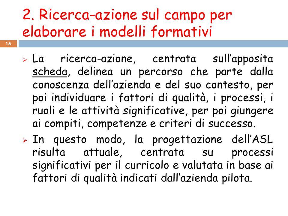 2. Ricerca-azione sul campo per elaborare i modelli formativi