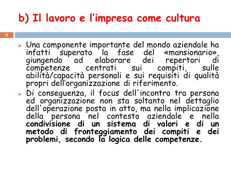 b) Il lavoro e l'impresa come cultura