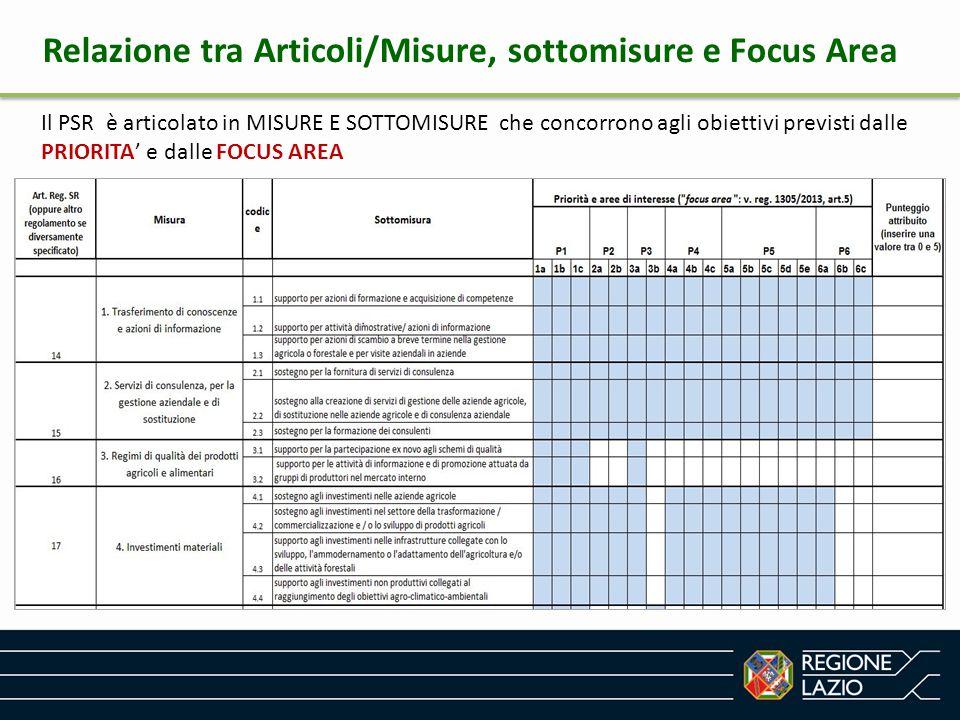 Relazione tra Articoli/Misure, sottomisure e Focus Area