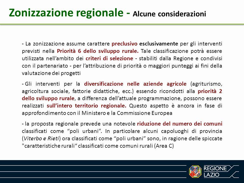 Zonizzazione regionale - Alcune considerazioni