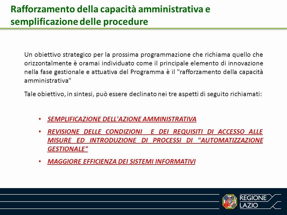Rafforzamento della capacità amministrativa e semplificazione delle procedure