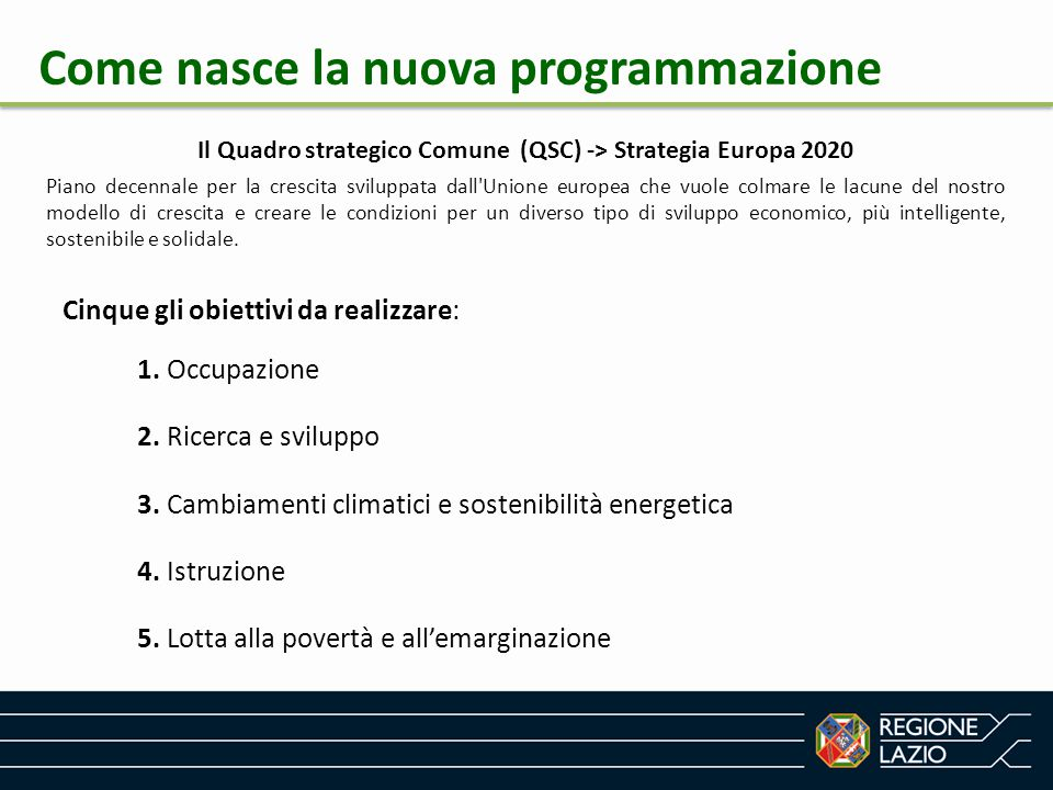 Il Quadro strategico Comune (QSC) -> Strategia Europa 2020
