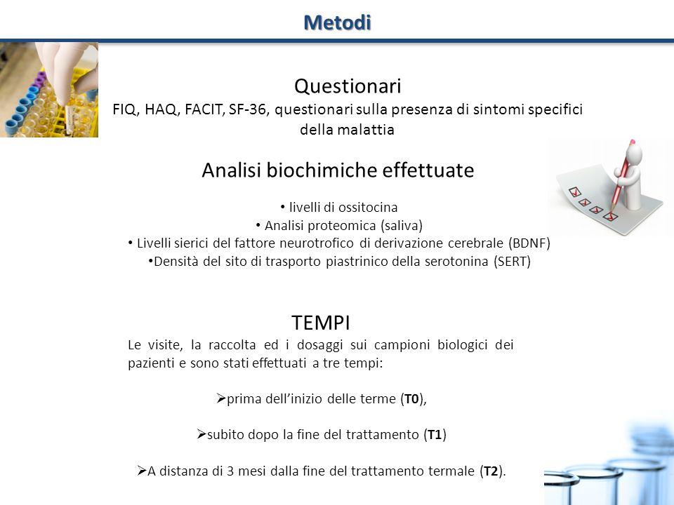 Analisi biochimiche effettuate