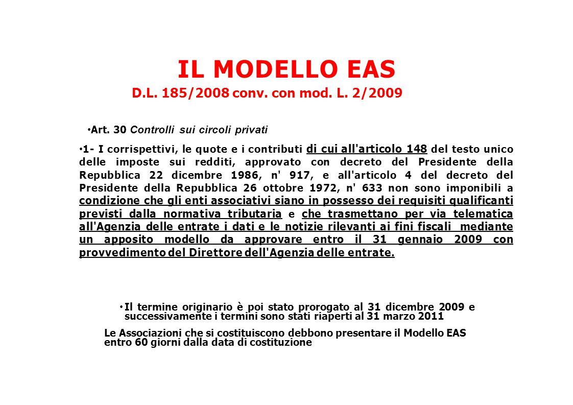 IL MODELLO EAS D.L. 185/2008 conv. con mod. L. 2/2009