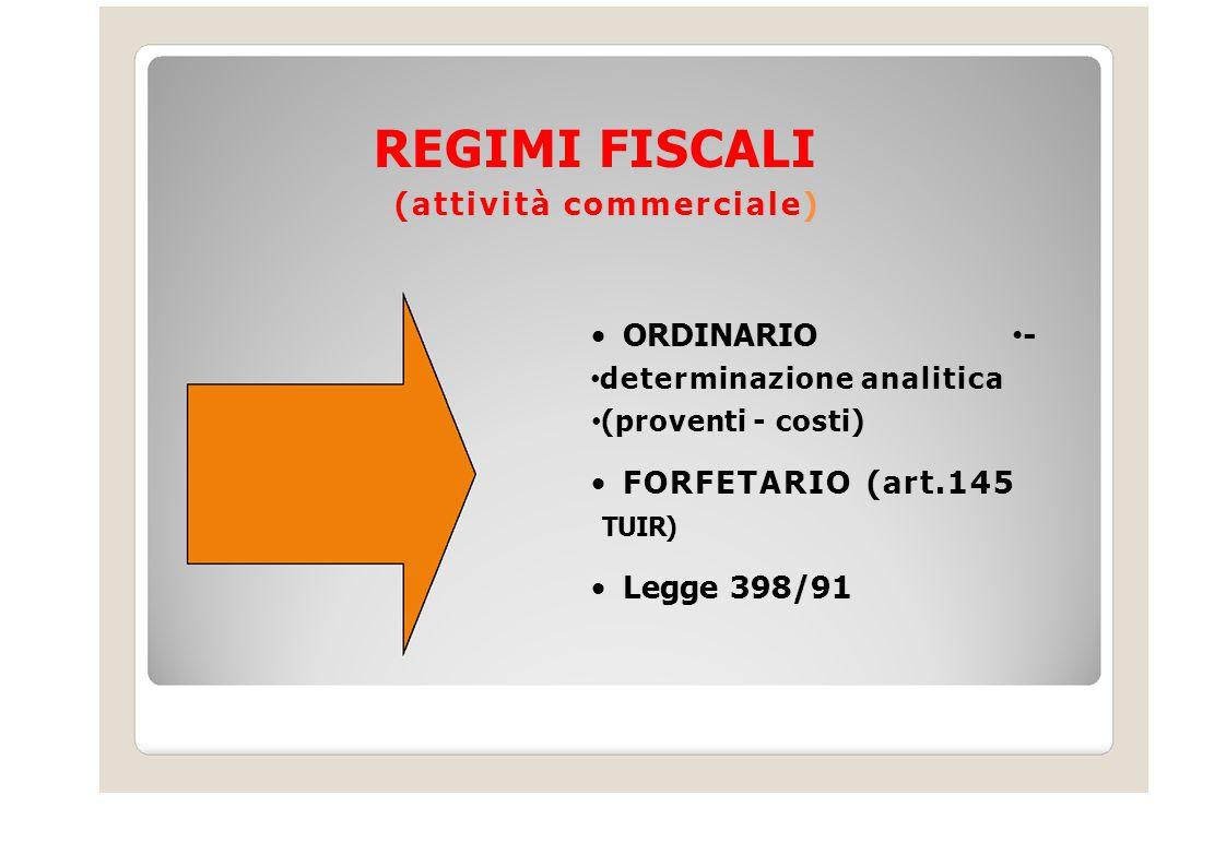 REGIMI FISCALI (attività commerciale) ORDINARIO - FORFETARIO (art.145