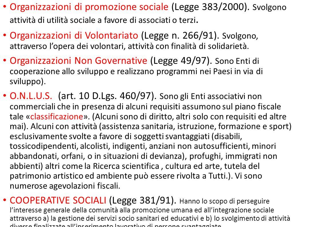 Organizzazioni di promozione sociale (Legge 383/2000)