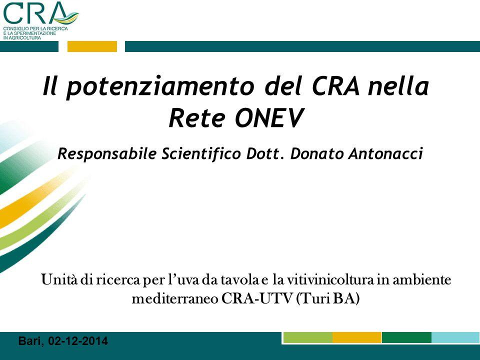 Il potenziamento del CRA nella Rete ONEV