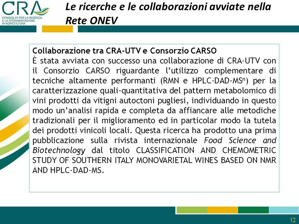 Le ricerche e le collaborazioni avviate nella Rete ONEV