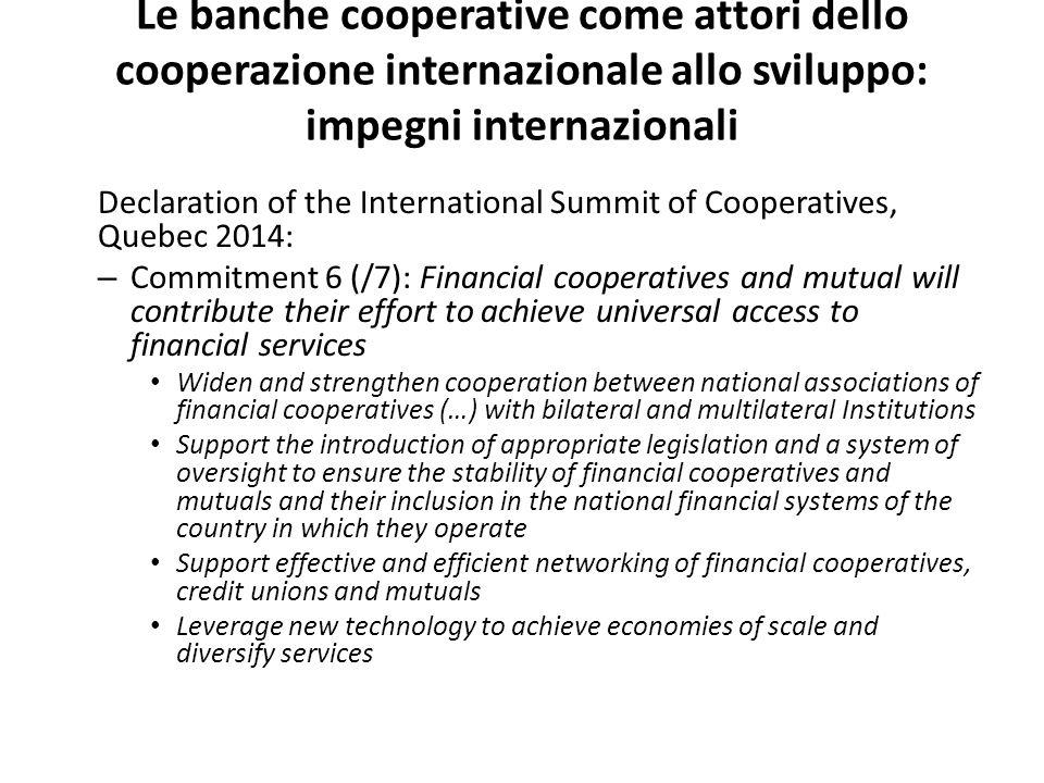 Le banche cooperative come attori dello cooperazione internazionale allo sviluppo: impegni internazionali