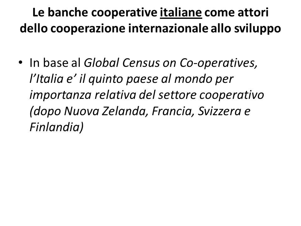 Le banche cooperative italiane come attori dello cooperazione internazionale allo sviluppo