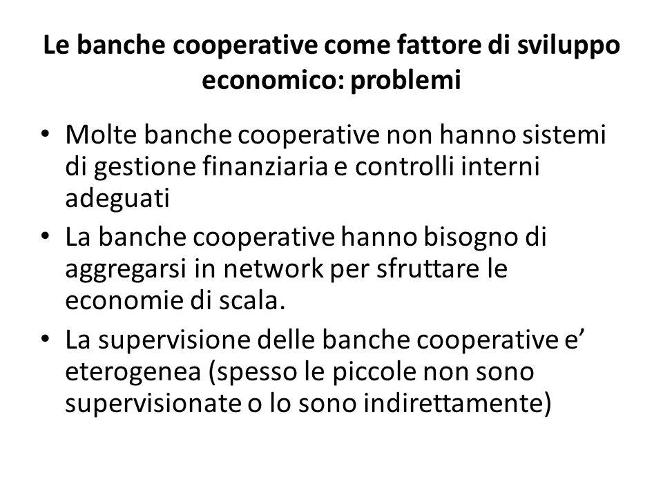 Le banche cooperative come fattore di sviluppo economico: problemi