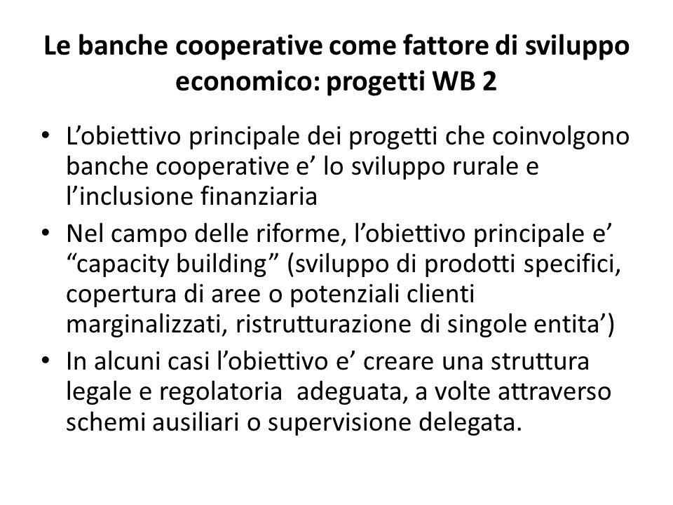 Le banche cooperative come fattore di sviluppo economico: progetti WB 2
