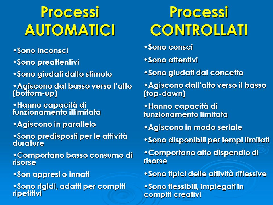 Processi AUTOMATICI Processi CONTROLLATI