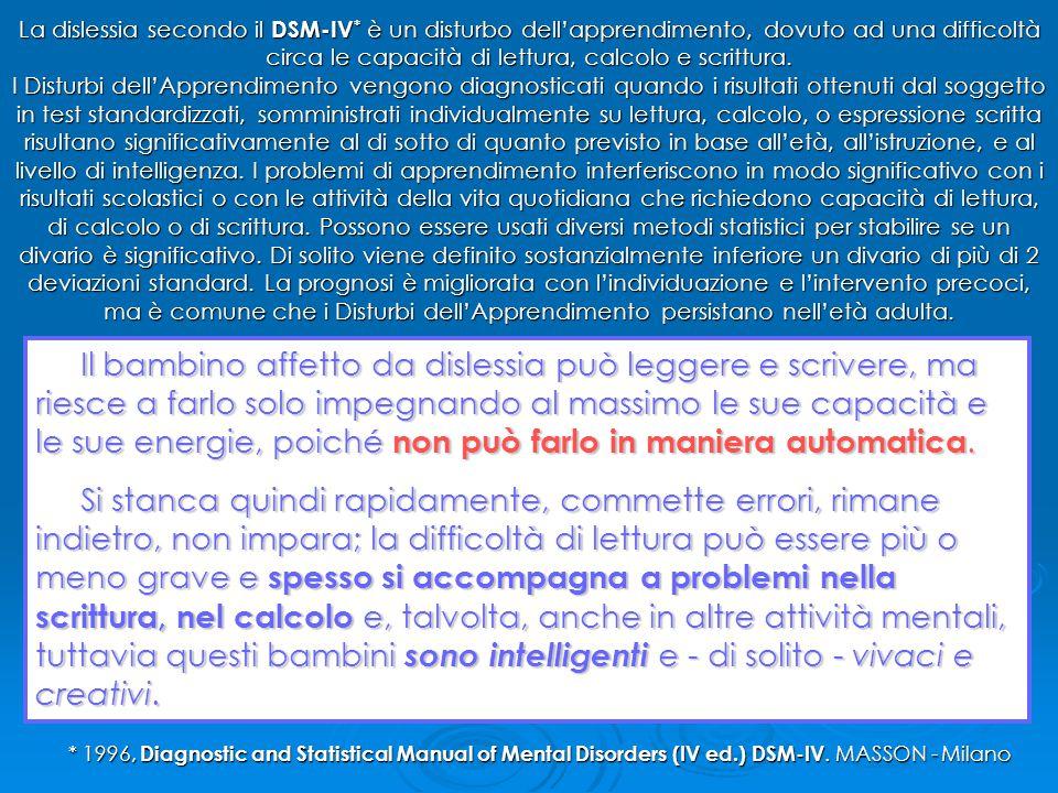 La dislessia secondo il DSM-IV