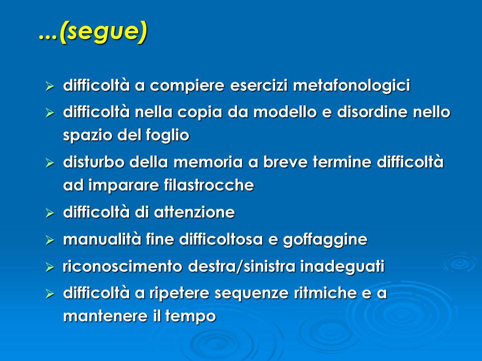 ...(segue) difficoltà a compiere esercizi metafonologici