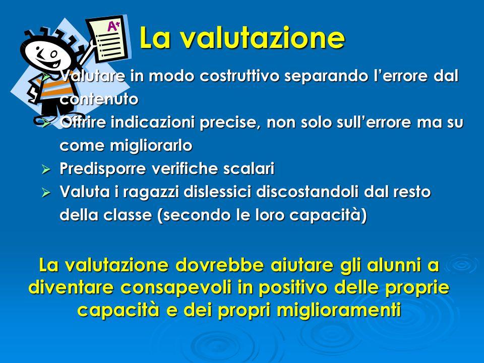 La valutazione Valutare in modo costruttivo separando l'errore dal contenuto.