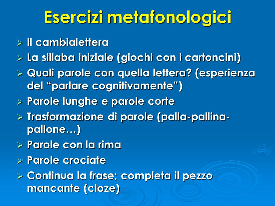 Esercizi metafonologici