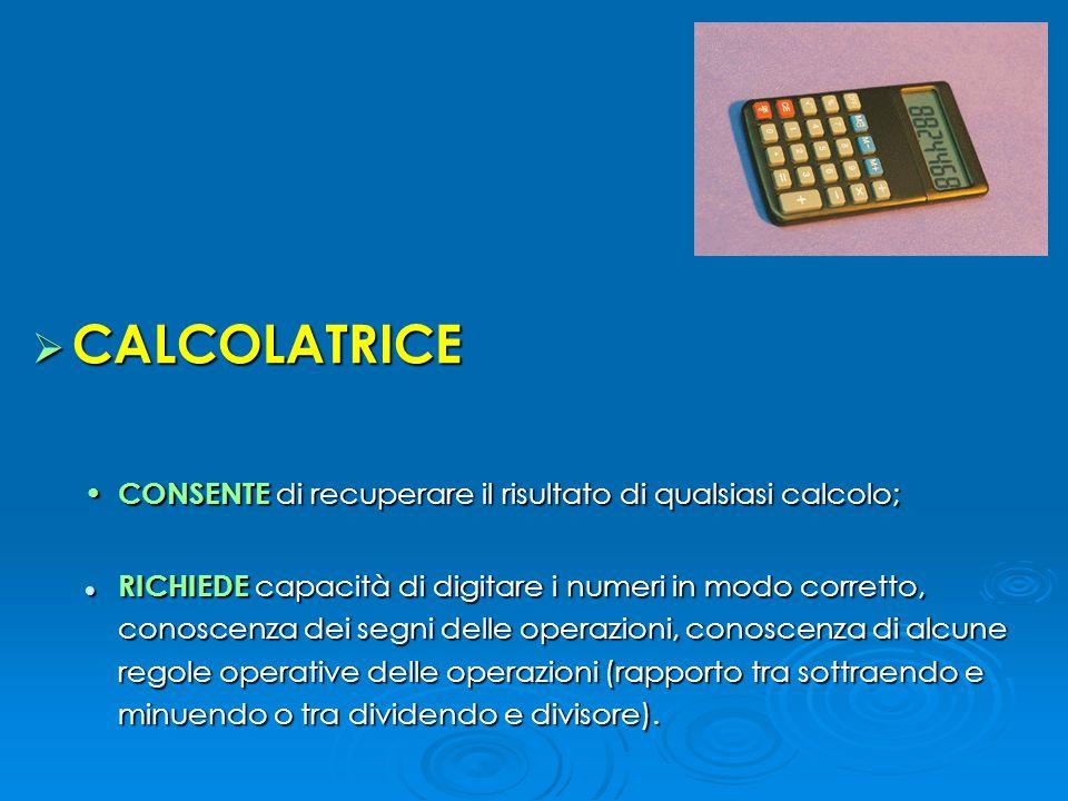 CALCOLATRICE CONSENTE di recuperare il risultato di qualsiasi calcolo;