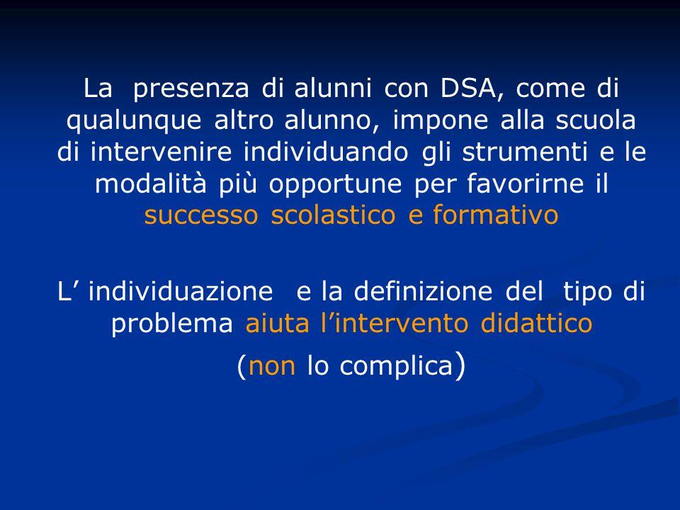 La presenza di alunni con DSA, come di qualunque altro alunno, impone alla scuola di intervenire individuando gli strumenti e le modalità più opportune per favorirne il successo scolastico e formativo