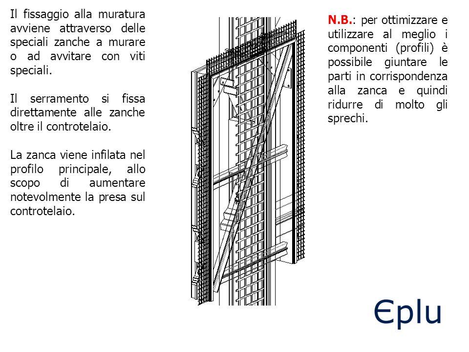 Il fissaggio alla muratura avviene attraverso delle speciali zanche a murare o ad avvitare con viti speciali.