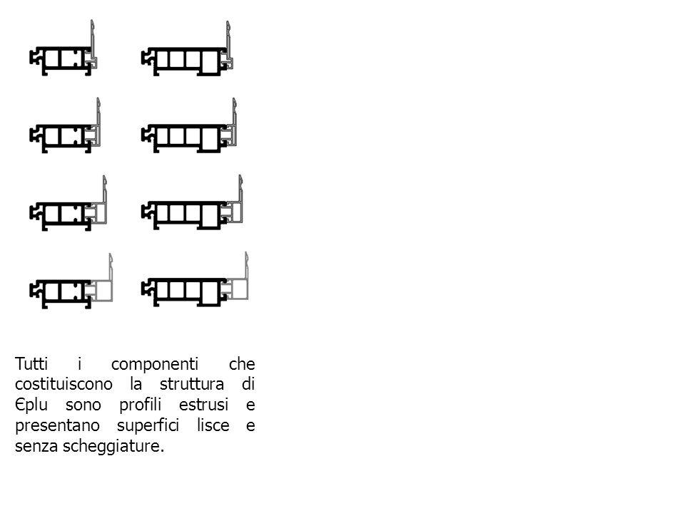 Tutti i componenti che costituiscono la struttura di Єplu sono profili estrusi e presentano superfici lisce e senza scheggiature.