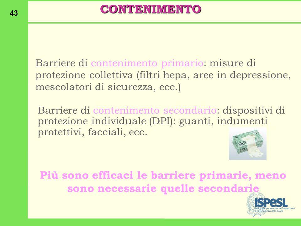 CONTENIMENTO Barriere di contenimento primario: misure di protezione collettiva (filtri hepa, aree in depressione, mescolatori di sicurezza, ecc.)