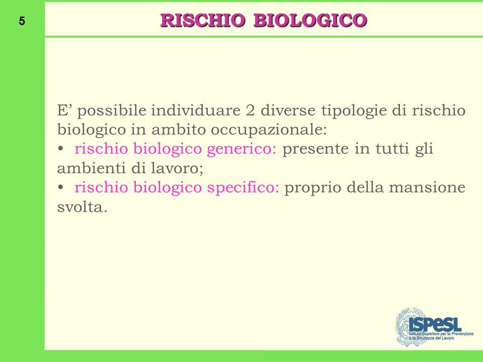 RISCHIO BIOLOGICO E' possibile individuare 2 diverse tipologie di rischio biologico in ambito occupazionale: