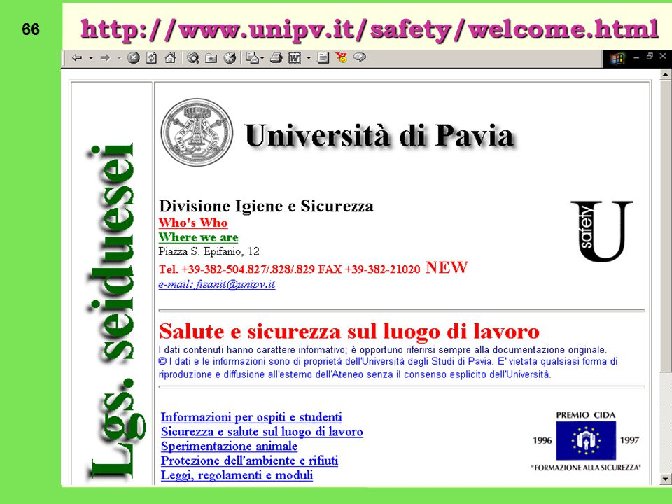 http://www.unipv.it/safety/welcome.html