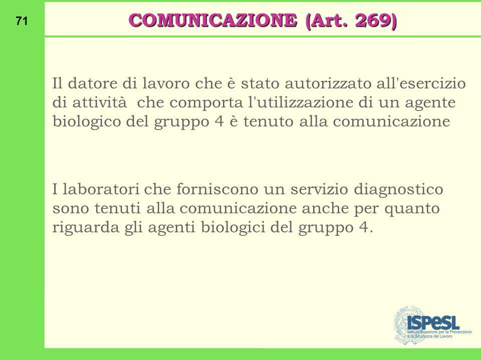 COMUNICAZIONE (Art. 269)
