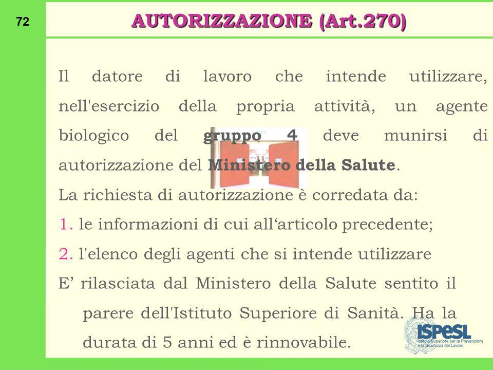 AUTORIZZAZIONE (Art.270)