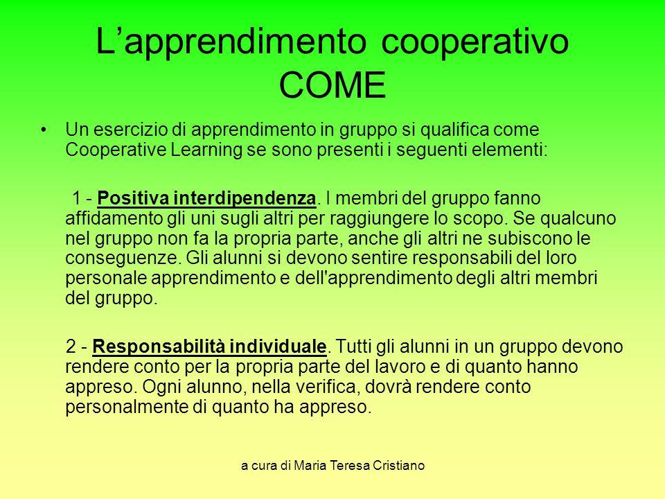 L'apprendimento cooperativo COME