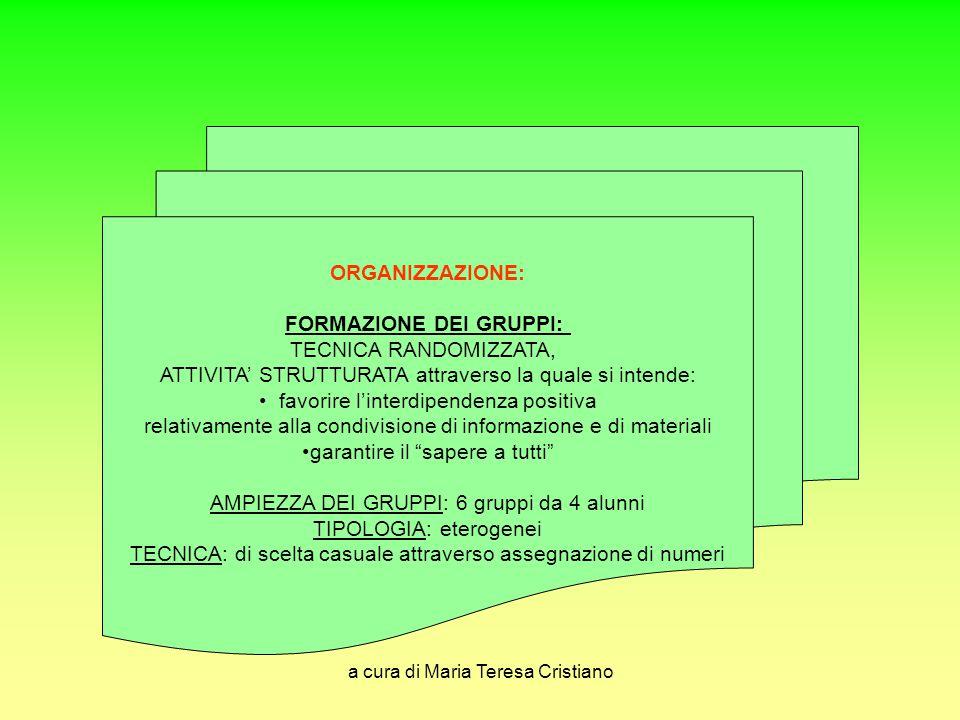 FORMAZIONE DEI GRUPPI: TECNICA RANDOMIZZATA,
