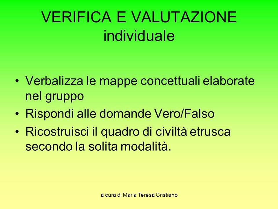 VERIFICA E VALUTAZIONE individuale