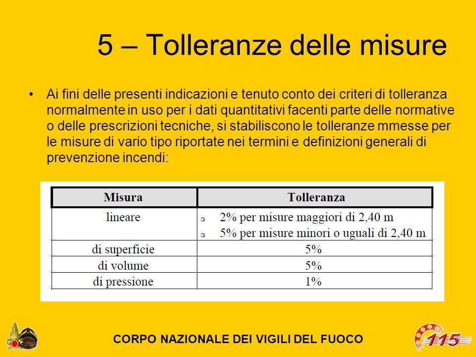 5 – Tolleranze delle misure